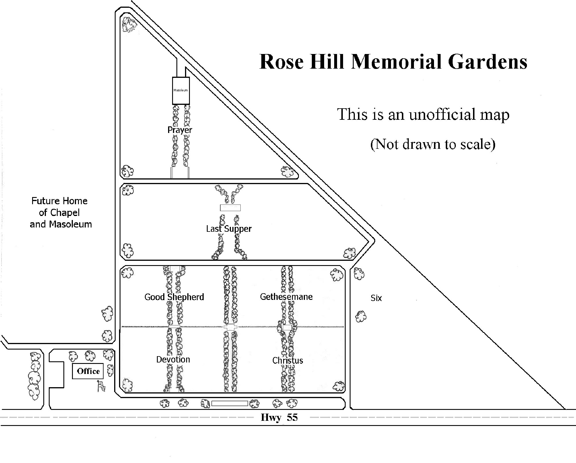 Rose Hill Memorial Gardens map - Rose Hill Memorial Gardens Tullahoma Tn